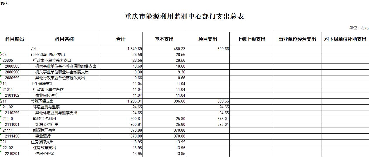 重庆市能源利用监测中心2021年部门预算情况说明